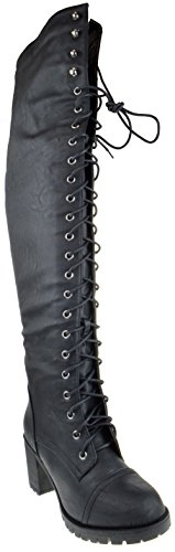 Illusion 01 Ok Womens Thigh High Lace Up Chunk Heel Combat Boots,Black,7.5