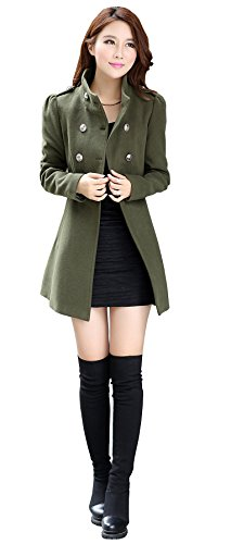 OUCHI Women Wool Blend Turn Down Collar Double-breasted Waisted Overcoat Coat Green