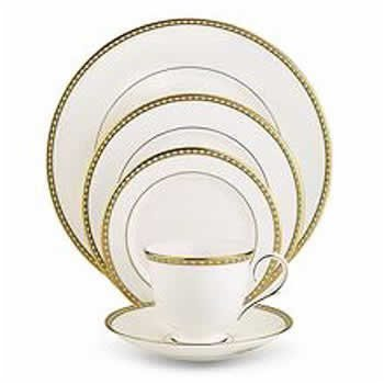 (Lenox Beaded Jewel Gold Banded Bone China 9-Inch Accent)