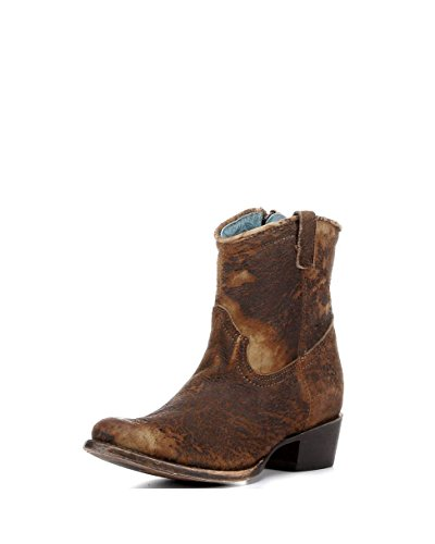 CORRAL Women's Lamb Abstract Short Boot Round Toe Chocolate 8.5 M US ()