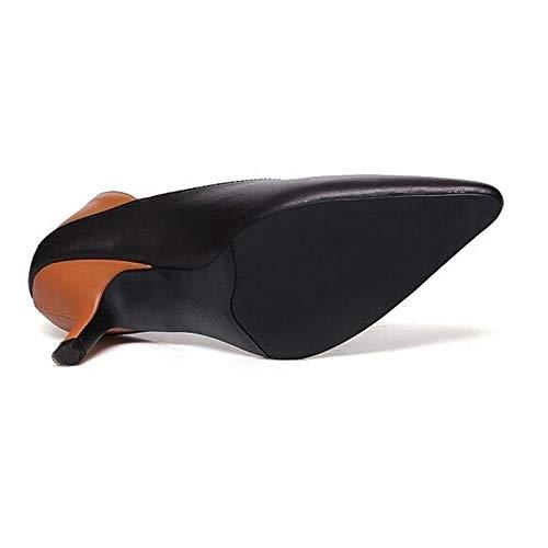 Beige Leather Tacones Stiletto ZHZNVX Pump Black Black de Zapatos Nappa Fall Heel Basic Mujer 81I7q