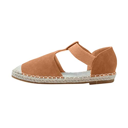 Sunhusing Ladies Large Size Retro Wind Baotou Elastic Band Flat Sandals Linen Woven Boho Wild Sandals Brown