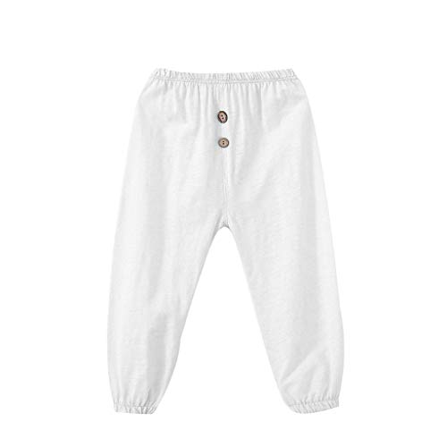 Baby Pants Girls Boys Pull-on Solid Leggings Anti-Mosquito Stretch Casual Button Harem Trousers ()