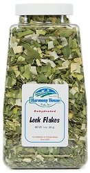 Harmony House Foods Dried Leeks, Green & White, rings (3 oz, Quart Size Jar) for Cooking, Camping, Emergency Supply, and - Green Harmony