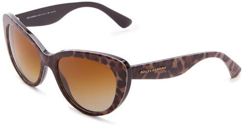D&G Dolce & Gabbana 0DG4189 1995T554 Polarized Cat-Eye Sunglasses,Leopard,54 - Sunglasses D Frame