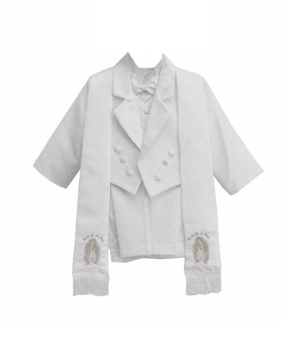 White Baby Boy Amoeba Pattern Silver Maria Guadalupe Embroidered Suit Set, Scarf
