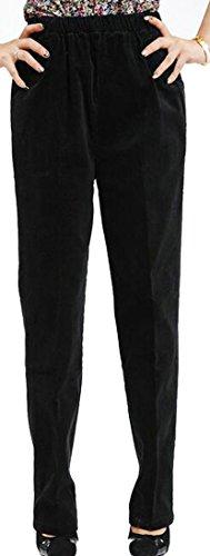 Fulok Womens Classic High Waist Corduroy Stretch Straight-Leg Pants Black Large Floral Corduroy Pants