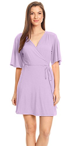 Lavender Plus Size Wrap Dress for Women Purple Flare Sleeve wrap Around Dress Mini V Neck Casual Summer Spring Dress (Size Large, Lavender)