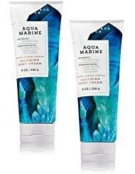 Bath and Body Works 2 Pack Aquamarine Body Cream 8 Oz. (Marine Lotion)