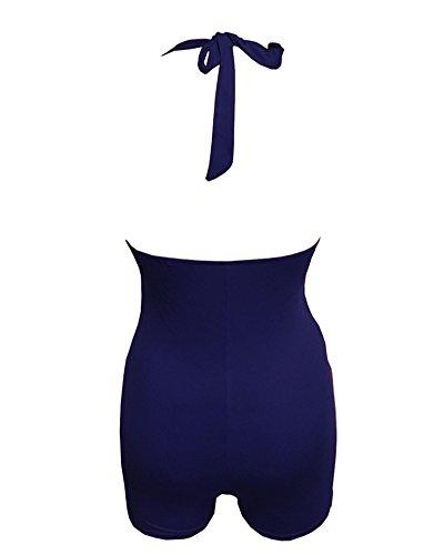 Bañadores Empujan Hacia Arriba Mujer Una Pieza Vendaje del Bikini de Traje de Baño Azul Zafiro