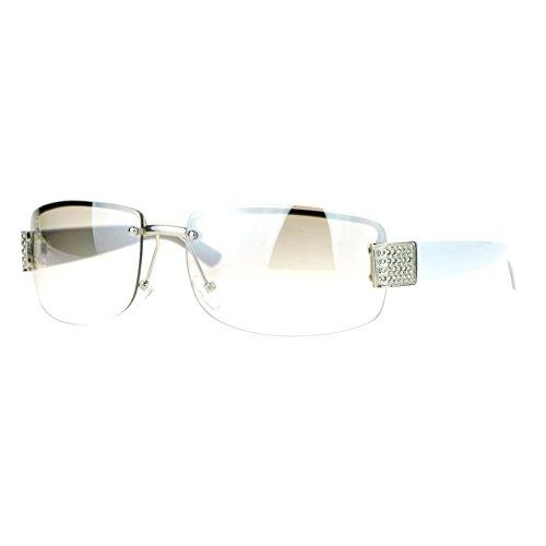SA106 Rimless Rhinestone Jewel Hinge Luxury Bling Sunglasses Clear White