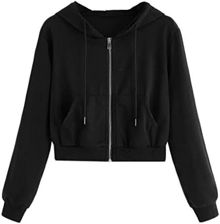 Fashion Women Casual Solid Long Sleeve Zipper Pocket Shirt Hooded Sweatshirt Tops Hoodie Pullover Tops Blouse