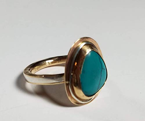 (OOAK Freeform Sterling and Gold Turquoise Abstract Statement Ring)