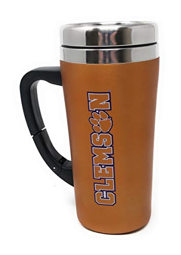 (Clemson Tigers Orange Purple Stainless Steel Thermal Travel 16 Ounce Mug with Belt Clip Adjustable Handle Screw On Lid )