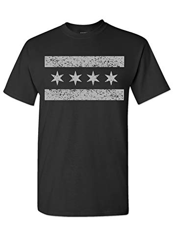 Strange Cargo Chicago Flag Grey and Black T-Shirt City Flag Illinois Stars XL -