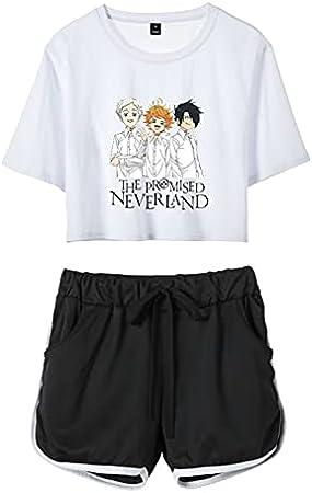 Anime The Promised Neverland Trajes de 2 Piezas Emma Norman Ray Conjunto de Camiseta y Pantalones Cortos para Mujeres y niñas