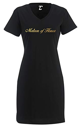 Tcombo Gold Matron of Honor - Wedding Marriage Women's Nightshirt (Black, Large/X-Large)