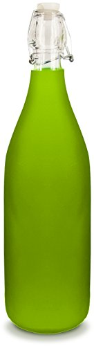 Glass Water Bottle - Frosted Green Color - Holds 1 Liter/33 Oz of Liquid - Swing Top Secure Stopper