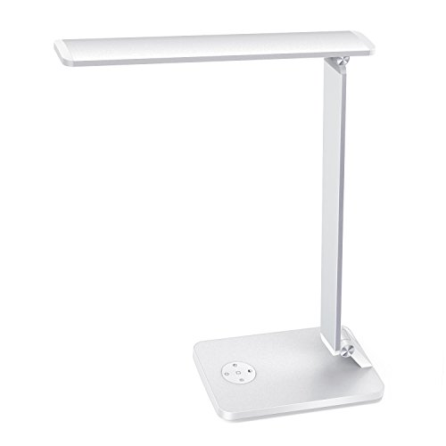 MoKo LED Desk Lamp, Smart Touch Stylish Metal Table Lamp, Rotatable Home Office Lamp with Stepless Brightness/Color Temperature, 5V 2.4A USB Charging Port, Memory Function, Sleep Mode - Silver