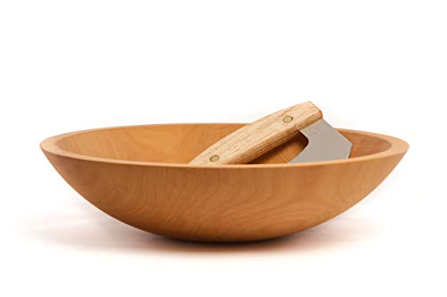 Large Wooden Chopped Salad Bowl Matching Maple Handled Chopper FREE Salad Servers made in New Hampshire