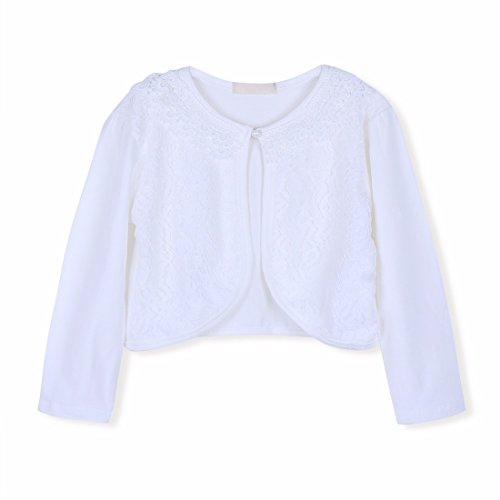 FEESHOW Kids Girls Long Sleeve Beaded Lace Bolero Cardigan Shrug Sweater Flower Dress Cover Up White 4-5