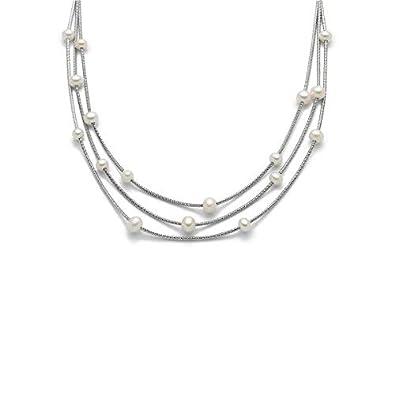 6ccd766836f5 miluna - gargantilla de Plata De ley 925 con perlas colección Miss Italia  2018  Amazon.es  Joyería