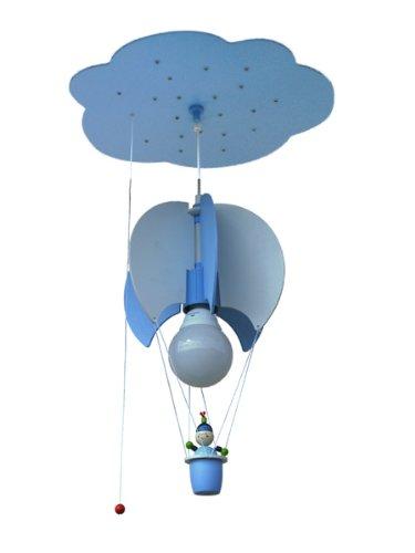 Elobra Kinder Pendelleuchte Ballon LED Uno, Blau, Holz, 125205