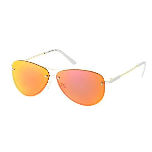 Eagle Eyes MIRA Aviator Sunglasses - Gold Rimless Womens Sunglasses with Pink Lenses
