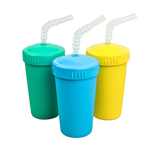 Re-Play Made in USA 3pk Straw Cups with Reversable Straw for Easy Baby, Toddler, Child Feeding - Aqua, Yellow, Sky Blue (Surf)