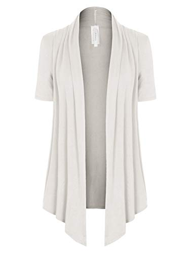 (MixMatchy Women's [Made in USA] Solid Jersey Knit Short Sleeve Open Front Draped Cardigan (S-3XL) Ivory S)