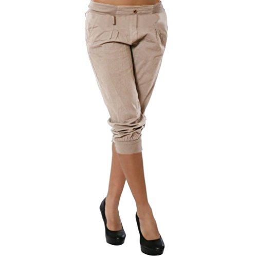 Hot Sale Capri Pants for Women vermers Womens Fashion Short Pants Casual Chino Solid Trousers(L, Khaki)