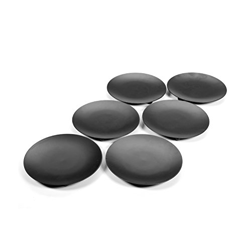 Hosley Set of 6 Black Iron Pillar Candle Holders - 4.75'' Diameter. Ideal for LED Candle Gardens, Spa, and Aromatherapy, Incense Cones, Wedding, Party, Spa, as Pedestal O3 by Hosley (Image #2)