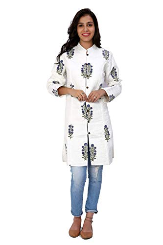 (Gleamberry Womens White Hand Block Printed Quilted Reversible Long Jacket)
