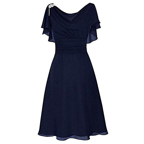 Mysky Women Popular Ruffle Short Sleeve Lace Formal Wedding Swing Dress Ladies Lovely Pure Prom Gown Cocktail Dress Dark Blue ()