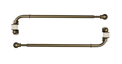 (Versailles Home Fashions Pair of Swing Arm with Ball Finial, Antique Brass, 14 by 24-Inch)