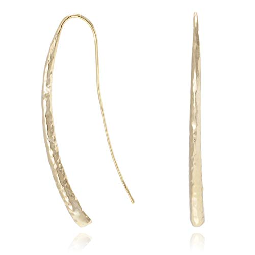 Bonaluna Long Curved & Hammered Long Drop Modern Threader Up & Down Earrings for Women