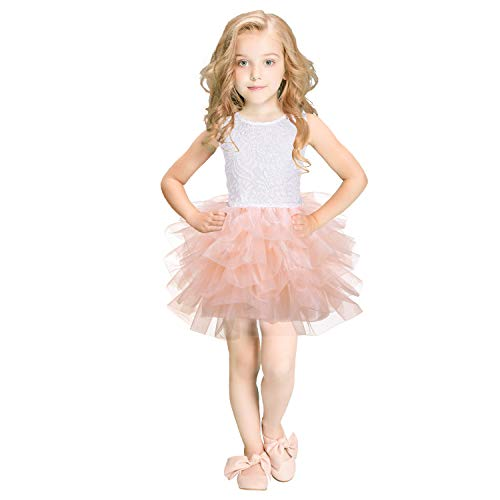 leegleri Tutu Dress for Toddler Girls A-line Backless Tulle Princess Dresses for Party Wedding Birthday and Baptism Champagne