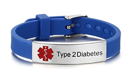 JF.JEWELRY Type 2 Diabetes Medical Alert ID Bracelet for Men & Women with Silicone Wristband -8 Size Adjustable,Blue (Diabetic Id Bracelets 2 Type)