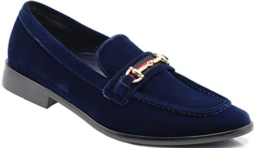 Enzo Romeo Pucci01 Men Dress Loafers Horse Bit Moc Toe Penny Loafer Buckle Slip on Tuxedo Dress Shoes (13 D(M) US, Navy Blue SD)