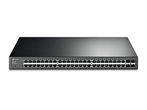 TP-Link 48 port PoE switch | Smart Managed | 48 Gigabit PoE+ Port, 4 SFP Slots | 802.3at/af Compliant, 384W | 802.1Q VLAN etc. L2 Features | Storm Control etc. Security Features | QoS(T1600G-52PS)