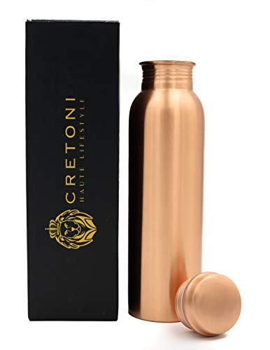CRETONI Copperlin Pure Copper Water Bottle : Matte Smooth Seemless Leak Proof Design : Perfect Ayurvedic Copper Vessel for Sports, Fitness, Yoga, Natural Health Benefits (900 Milliliter/30 Ounce)