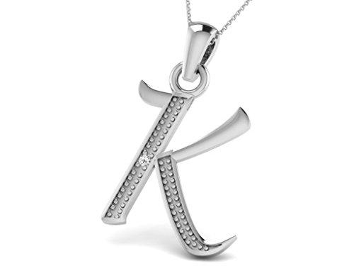 Or Blanc 14 ct Pendentifs Diamant en forme de K alphabet, 0.01 Ct Diamant, GH-SI, 0.4 grammes.