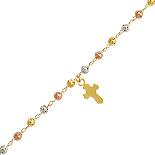 14K Gold Tri-color or Yellow Gold Chain 4mm Bead Cross Charm Rosary Bracelet (7, 7.5 Inches), 7