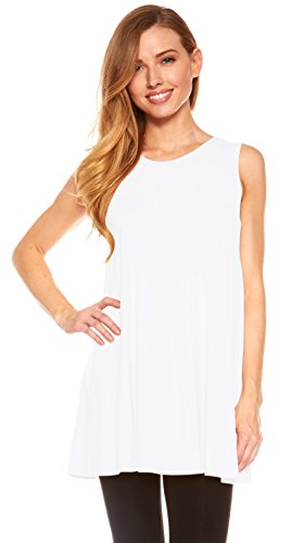 Red Hanger Womens Sleeveless A-Line Tank Top Tunic, Solid Basic Long Flowy Top (White-L)