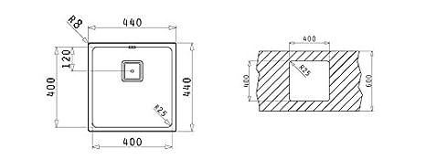 Pyramis 101024201 Lume /Évier encastrable en acier inoxydable poli 40 x 40/cm