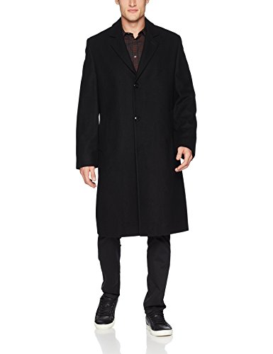 London Fog Men's Signature Wool Blend Top Coat, Black, ()
