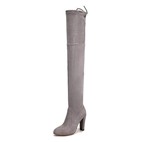 Winter Tube and Fashion Knee Ladies Square Autumn Boots Tacones Fabric Over High Boots Heels HCBYJ Stretch The High Thigh tq18Sxf