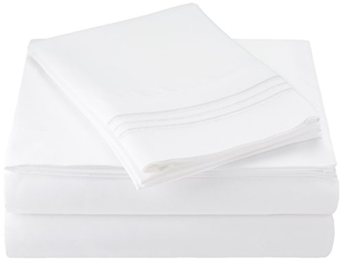 Sweet Home Collection 1800 Thread Count Egyptian Quality 4 Piece Deep Pocket Bed Sheet Set, King, White