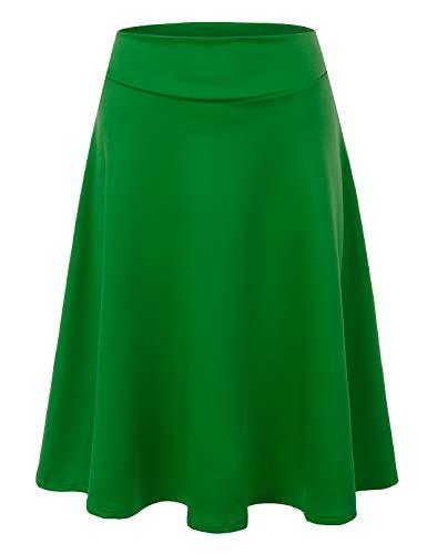 Doublju Womens High Waist Midi A-Line Skirt Green 2XL