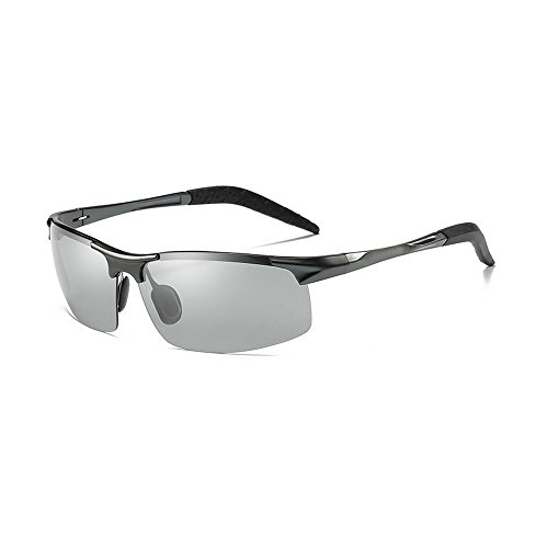 MINCL/Polarized Photochromic Lens Sunglasses Driving Cycling Semi Frame Photosensitive Eyewear for Men (gun-photochromatic, ()